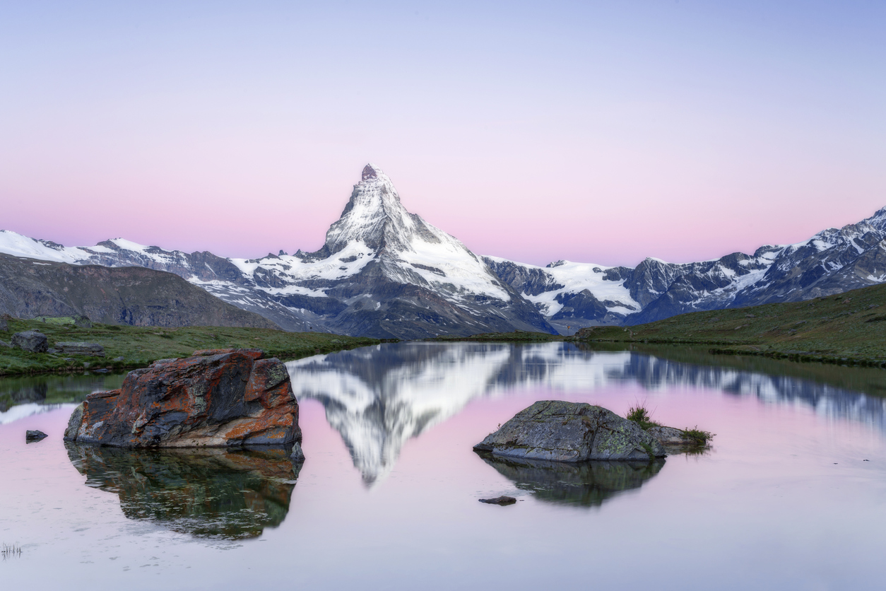 Matterhorn at sunrise with Stellisee in foreground