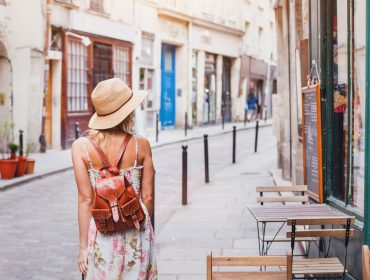 woman tourist on the street travelling in Europe