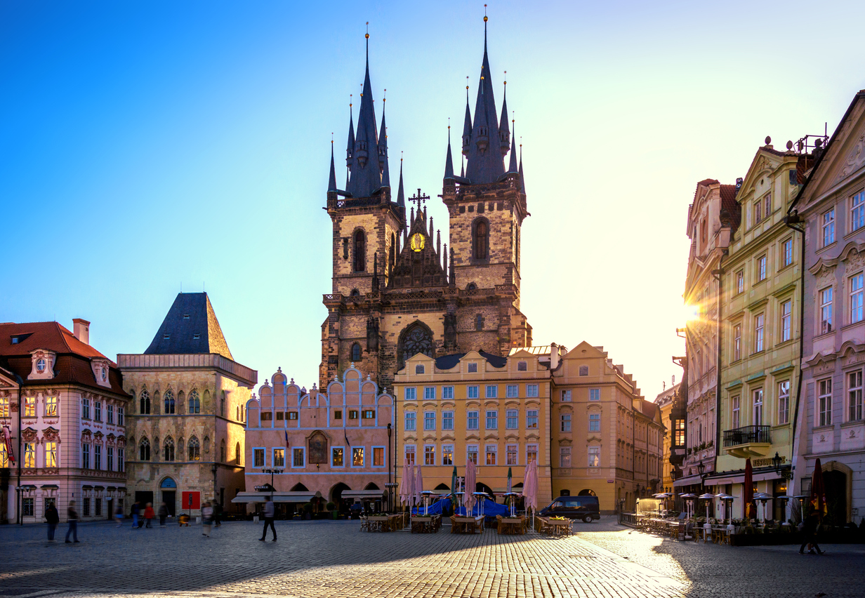 Old Town Square and Church of our Lady in Prague at sunrise