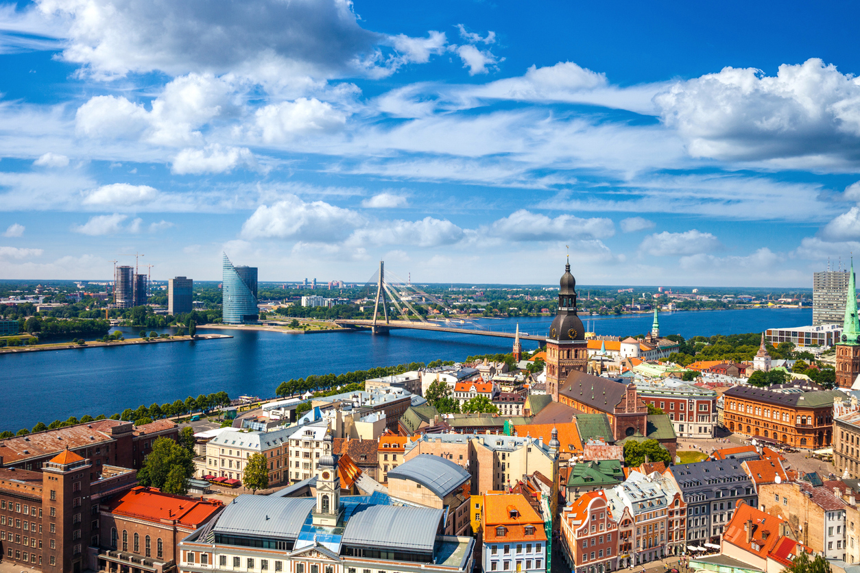 Riga Old Town, beautiful view over the city, Latvia.