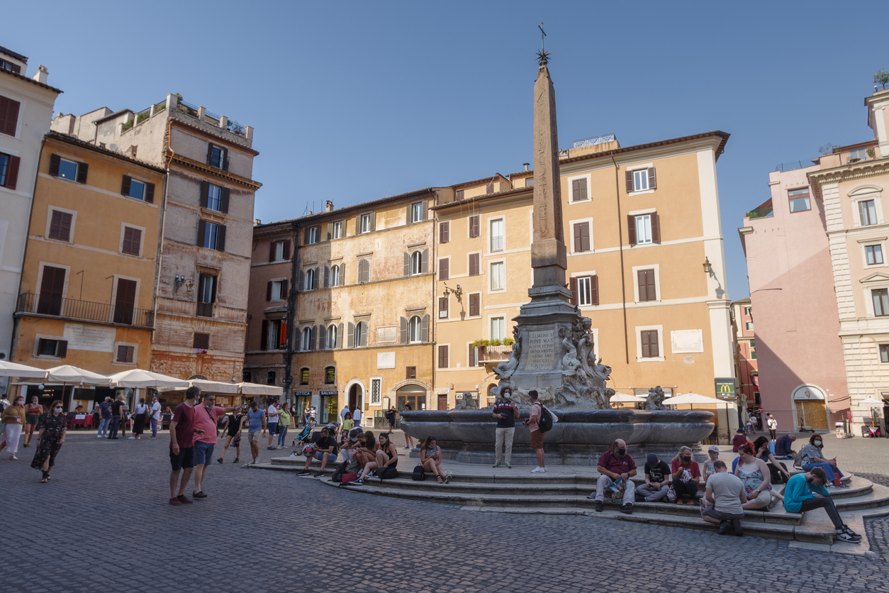 Rome, Italy - June 14, 2021: View of Pantheon square also known as Piazza della Rotonda with the Fountain and obelisk